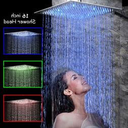 16-inch Shower Head Rainfall LED Stainless Steel Shower Spra