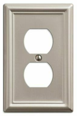 AmerTac 149DBN Chelsea Steel Single Duplex Wallplate, Brushe