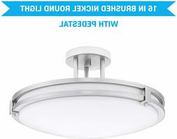 16 INCH Brushed Nickel Round 2-Light Ceiling Light Fixture,