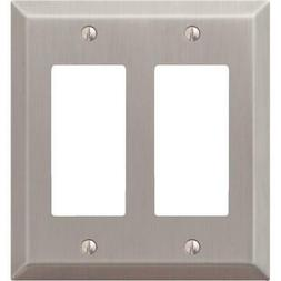 Amerelle 163RRBN Century Steel 2 Rocker Wallplate, Brushed N