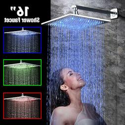 16 inch LED Rainfall Shower Head Faucet Wall Mount Shower Ar