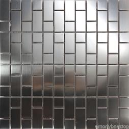 Sample Stainless Steel Brushed Nickel Pattern Mosaic Tile Ki