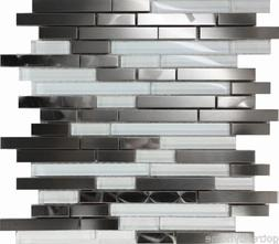10SF Stainless Steel Brushed Nickel Swirl Glass Mosaic Tile