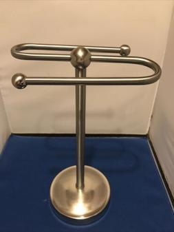 2 Arm Kitchen/Bathroom Hand Towel Holder Brushed Nickel  Hol