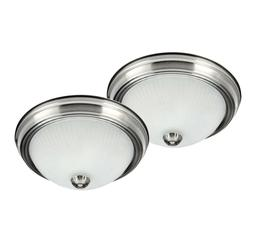 2-Pack Brushed Nickel Flush Mount Ceiling Light Fixture Hall