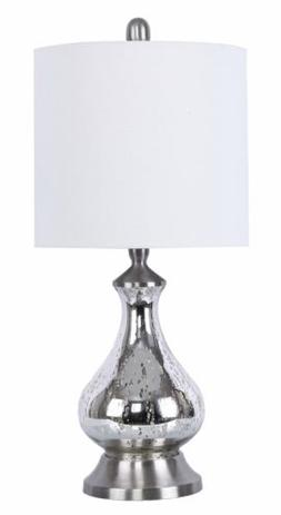 """Grandview Gallery 22"""" Silver Acid Mirror Glass Accent Lamp B"""