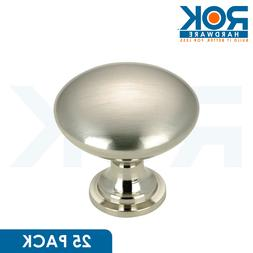 25 Pack - Rok Hardware Contemporary Metal Knob, Brushed Nick