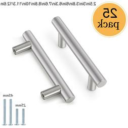 25Pack Brushed Nickel Cabinet Pulls Stainless Steel Drawer T
