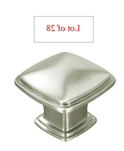 28 Satin Nickel or Brushed Nickel Kitchen Cabinet Square Kno