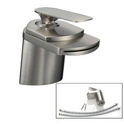 """Nickel Bathroom 4"""" Brushed Basin Faucet Waterfall Vanity Sin"""