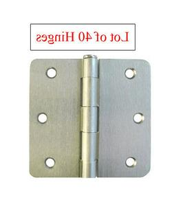 "40 Satin Nickel 3.5""X3.5"" w 5/8"" Radius Door Hinges brushed"