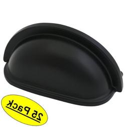 25 Pack - Cosmas 4310FB Flat Black Cabinet Hardware Bin Cup