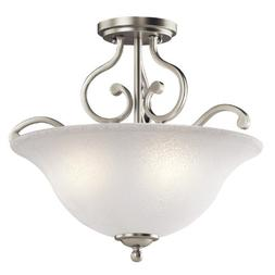 Kichler 43232NI Camerena Semi Flush Ceiling Light, Brushed N