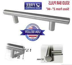 5, 10 - 50 Pack Solid Bar Pull Brushed Nickel Steel Kitchen