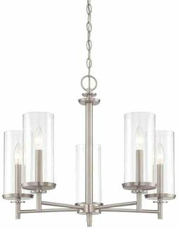 Hampton Bay 5-Light Brushed Nickel Chandelier Ceiling LED Li
