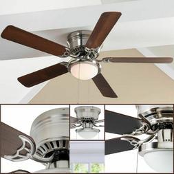 """52"""" Ceiling Fan LED Indoor Lamp Brushed Nickel Flush Mount 5"""