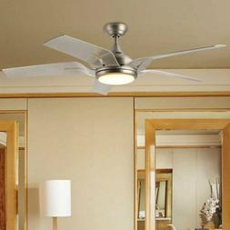 56'' Contemporary Ceiling Fan Brushed Nickel White LED L
