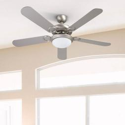"56"" Stylish Ceiling Fan Brushed Nickel White Glass LED Light"