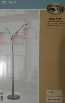 Hampton Bay 78 in 3-Arc Floor Lamp Brushed Nickel Finish Whi