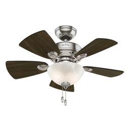 "Hunter 52092 Watson Ceiling Fan with Light, 34""/Small, Brush"