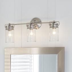 Allen + Roth 3-Light Brushed Nickel Cylinder Bathroom Vanity