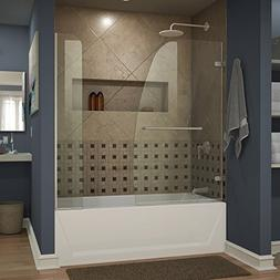 "DreamLine Aqua Uno 56 to 60""W x 58"" H Hinged Tub Door w/ 9"""