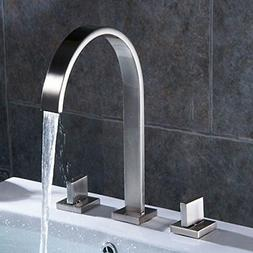 Aquafaucet Waterfall Brushed Nickel Widespread Bathroom Sink