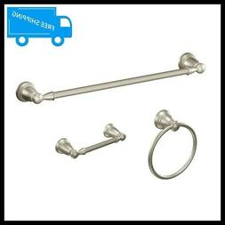 MOEN Banbury 3-Piece Bath Accessory Kit in Brushed Nickel