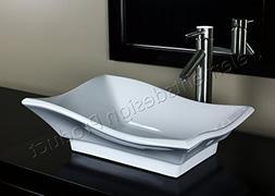 Bathroom Ceramic Vessel Sink 7459L1 With Brushed Nickel Fauc