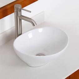 ELITE Bathroom Egg White Ceramic Porcelain Vessel Sink & Bru