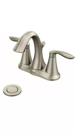 "Moen Bathroom Faucet, 4"" Eva TwoHandle Brushed Nickel"