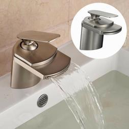 Bathroom Sink Faucet Deck Mount Waterfall Basin Mixer Tap Br