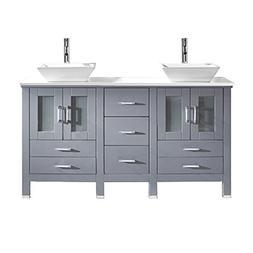 Virtu USA Bradford 60 inch Double Sink Bathroom Vanity Set i