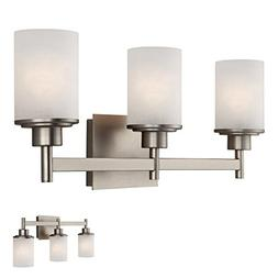 Brushed Nickel 3 Globe Vanity Bath Light Bar Fixture with Et