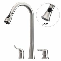Brushed Nickel 3 Hole Pull Down Kitchen Sink Faucet Single H