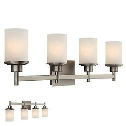 Brushed Nickel 4 Globe Vanity Bath Light Bar Fixture, Etched