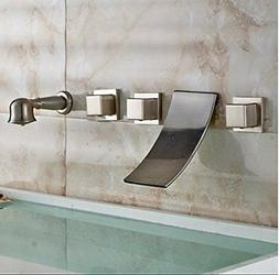 Brushed Nickel 5PCS Widespread Waterfall Bathtub Mixer Fauce