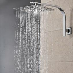 Brushed Nickel 8-inch Square Rain Shower Head Shower Arm Wal