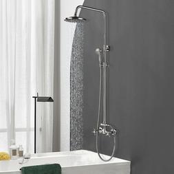 "Brushed Nickel 8"" Rainfall Bathroom Shower Faucet W/Handheld"