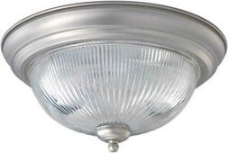 Brushed Nickel And Clear Ribbed Glass Flush Fixture