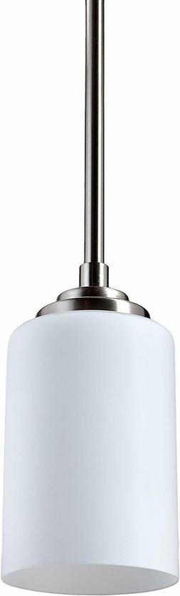 Brushed Nickel And Flat Opal Glass Pendant Ceiling Light