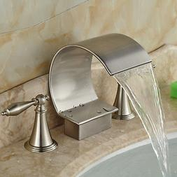 Brushed Nickel Bathroom Basin Faucet Waterfall Spout Roman T