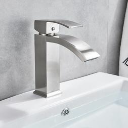 Brushed Nickel Bathroom Basin Faucet Widespread Brass Waterf