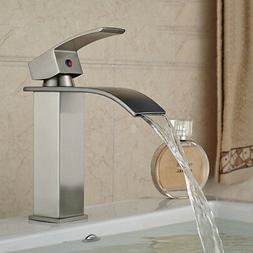 Brushed Nickel Bathroom Faucet Waterfall Faucets Single Hand