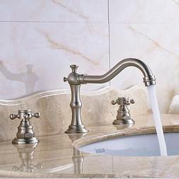 Brushed Nickel Bathroom Sink Faucet Widespread 3pcs Double K