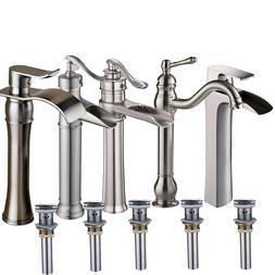 Brushed Nickel Bathroom Vessel Sink Faucet with Drain Vessel