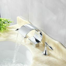 Brushed Nickel Bathroom Waterfall Tall Sink Faucet 3Holes 2
