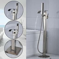 Brushed Nickel Bathtub Faucet Floor Mounted Free Standing Tu