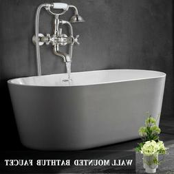 Brushed Nickel Bathtub Faucet Wall Mounted Swivel Tub Filler