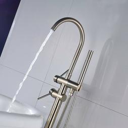 Brushed Nickel Bathtub Floor Mounted Faucet Free Standing Tu